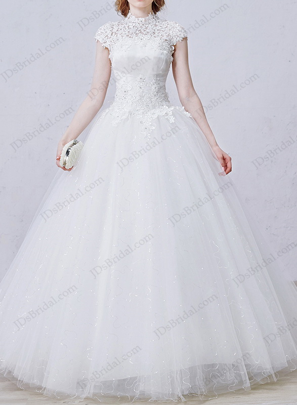 Cheap Illusion Lace High Neck Bling Tulle Ball Gown Wedding Dress With Keyhole Back