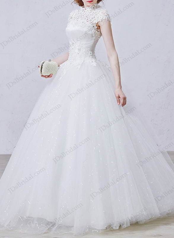 IS043 Illusion lace high neck bling tulle ball gown wedding dress :