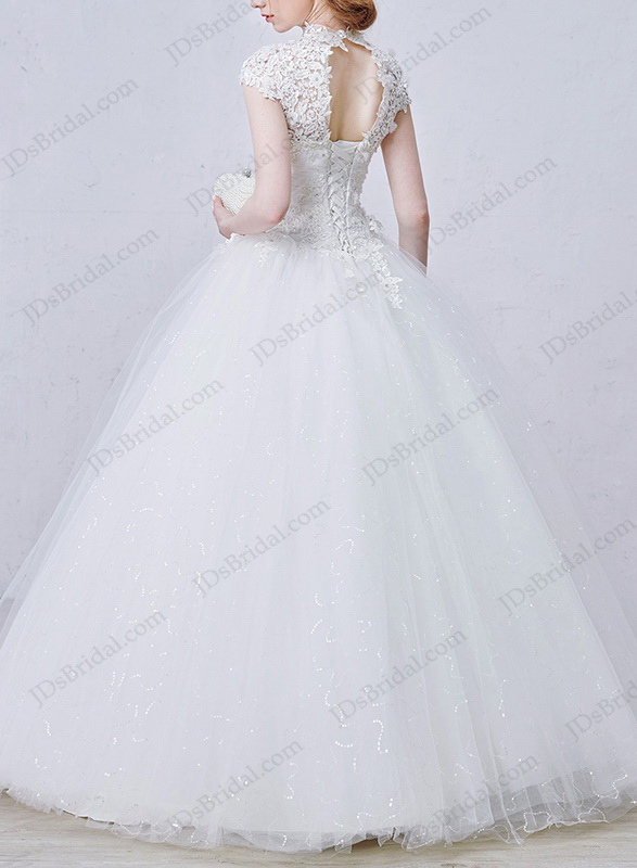 IS043 Illusion lace high neck bling tulle ball gown wedding dress