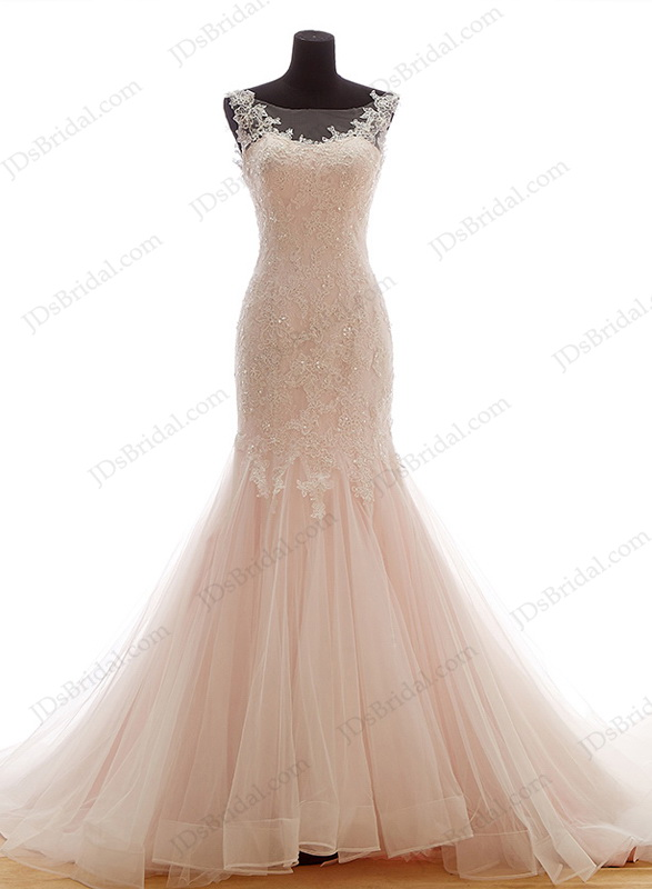 latest blush pink colored lace with tulle mermaid wedding dress with sheer illusion scoop top