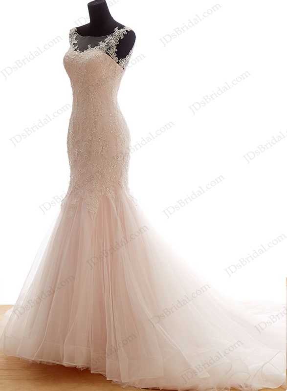 IS044 Cheap feminine blush pink mermaid tulle wedding dress