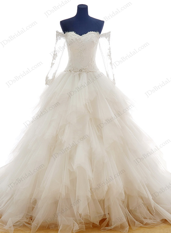 dreamy princess sweetheart neckline ball gown wedding dress with off shoulder long sleeves