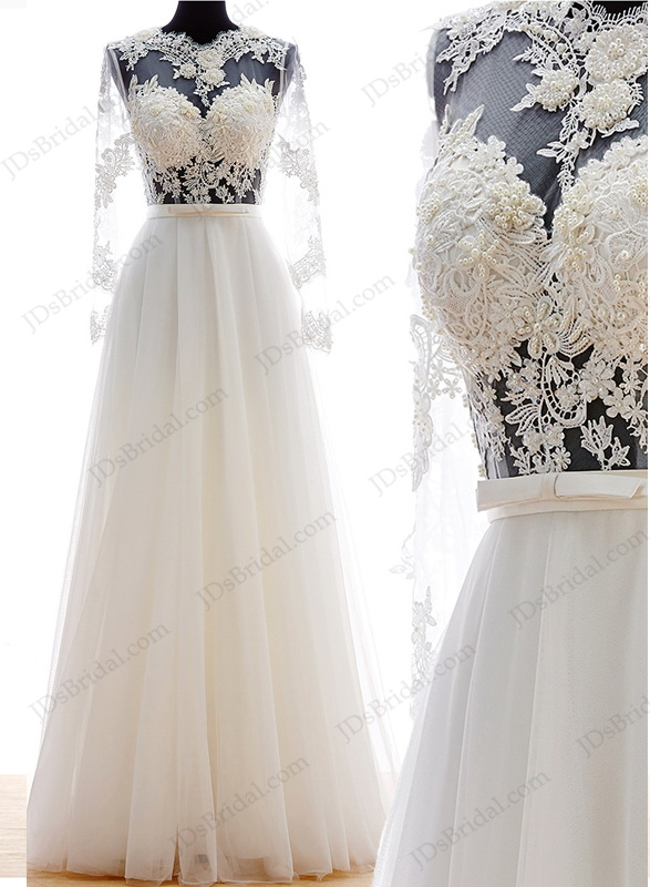 Is047 sexy boho illusion bodice chiffon beach wedding dress for Wedding dress with illusion top