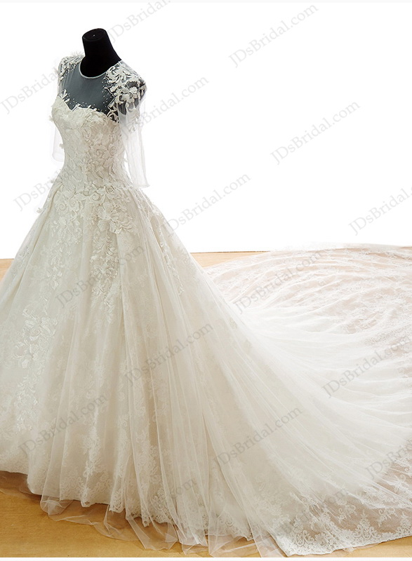 06079452e2f IS048 Luxury lace princess wedding dress with big cathedral train