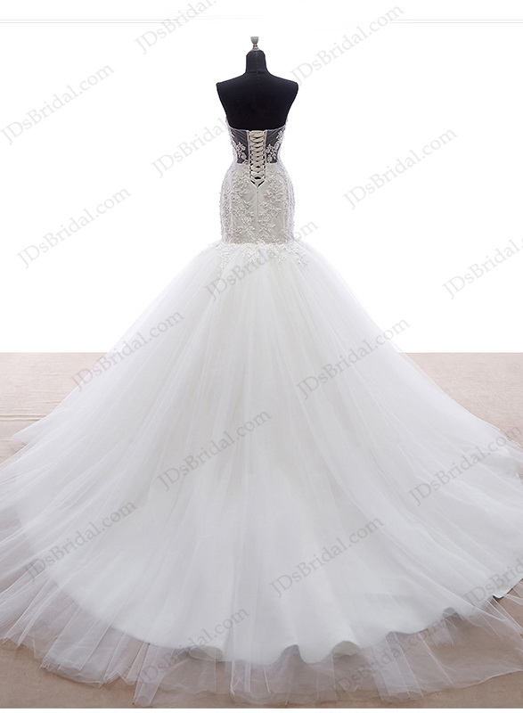 IS049 Unique fitted mermaid tulle bottom bridal wedding dress