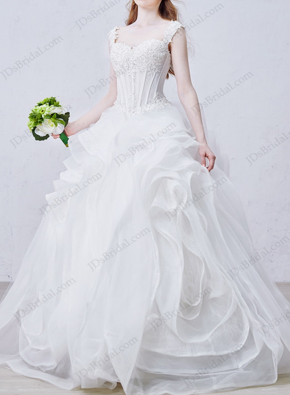 IS050 affordable illusion top swirl organza ball gown wedding dress