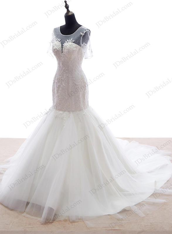 Is053 romance short sleeved fitted mermaid wedding dress for Fitted mermaid wedding dresses