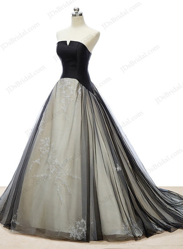 IS054 Cheap black tulle wedding dress with notch neckline :