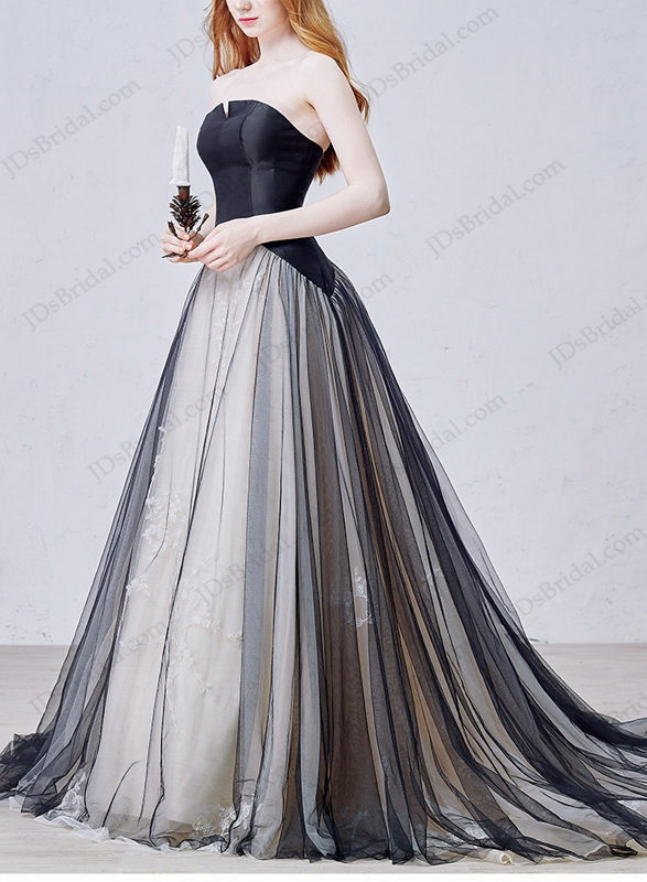 Is054 cheap black tulle wedding dress with notch neckline for Affordable non traditional wedding dresses