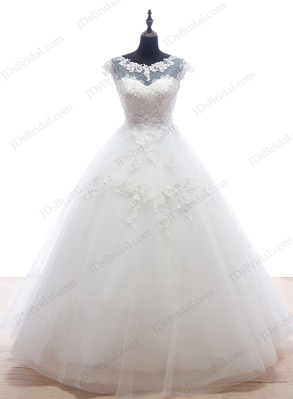 IS055 Plus size illusion top ball gown wedding dress with low back