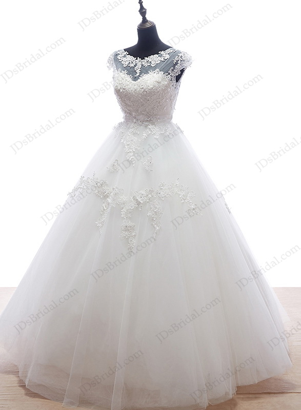 is055 plus size illusion top ball gown wedding dress with