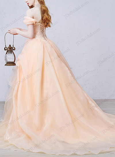 IS056 Fairy Peach Coral Colored Organza Wedding Dress Discount