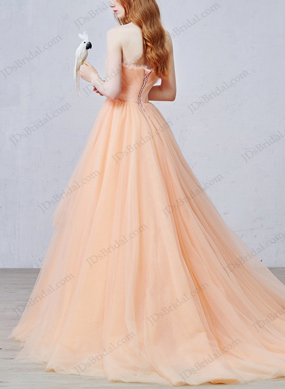IS057 Uniqe peach color soft tulle ball gown wedding dress online :