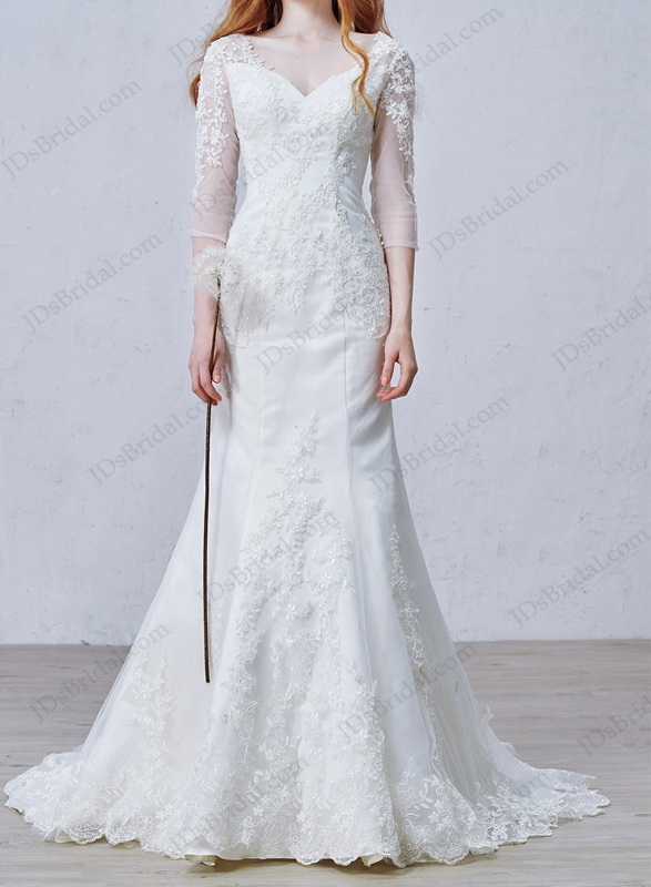 IS058 Elegant inexpensive Illusion sleeved mermaid wedding dresses