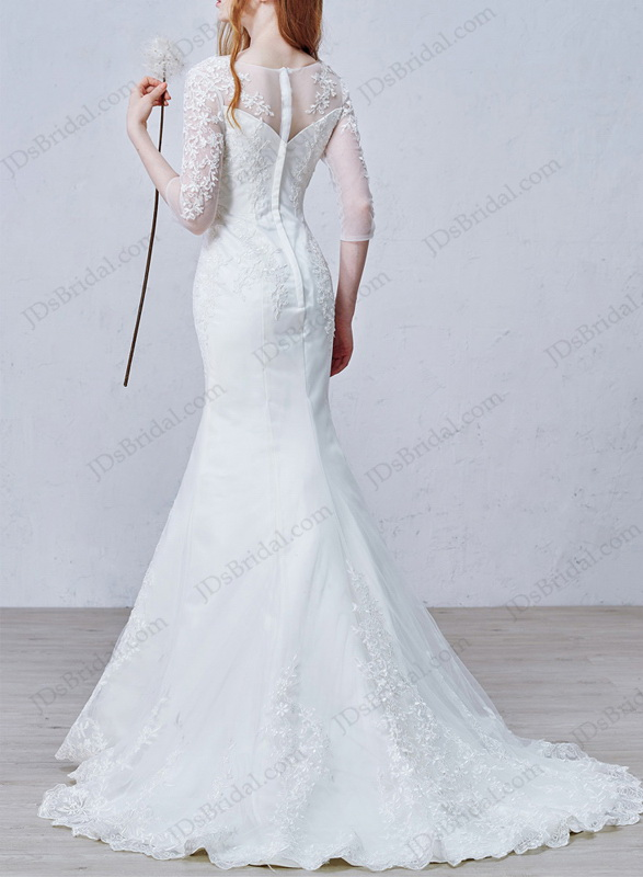 cheap lace mermaid trumpet wedding dress online with illusion three quarters sleeves
