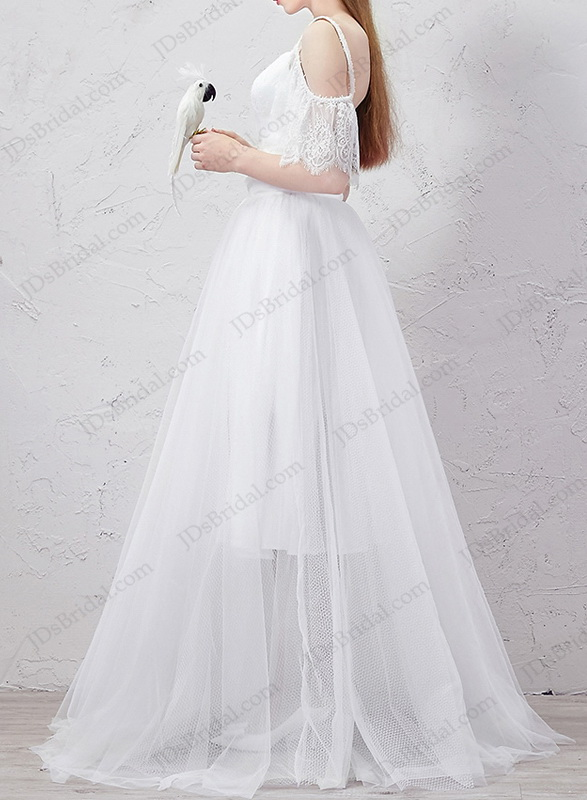 IS059 Convertible two pieces short sheath wedding dress