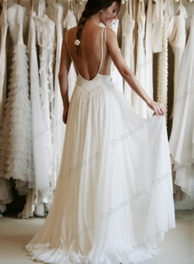 b633f0becc sexy backless open back inspired boho beach wedding bridal dresses with  flowy chiffon skirt