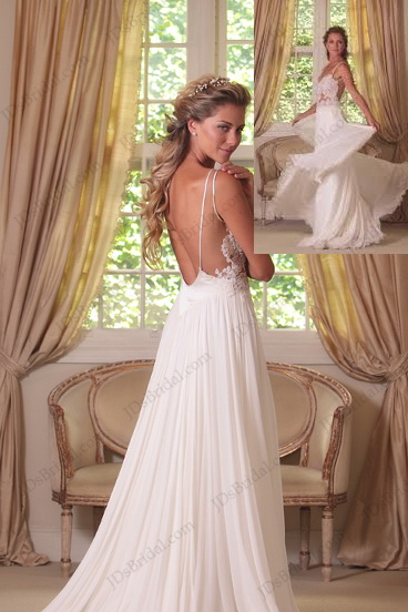 JD012 Sexy Backless Flowy Chiffon Boho Beach Wedding Dresses