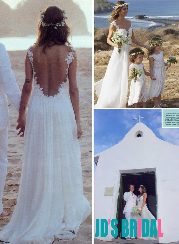 JOL270 Sexy sheer back bohemian chiffon beach wedding dress