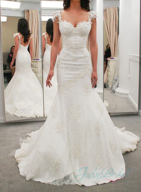 JOL274 sexy lace cap sleeves low back mermaid wedding dresses :