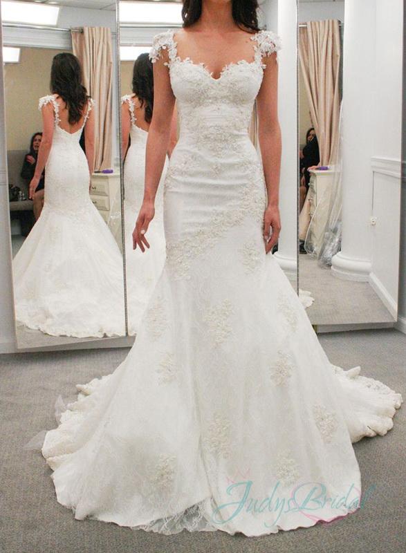 Jol274 Sexy Lace Cap Sleeves Low Back Mermaid Wedding Dresses