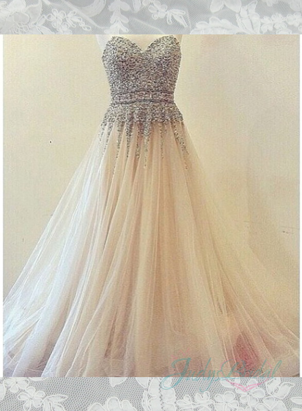 JOL277 sparkles sequins bodice layers tulle ball gown wedding dress