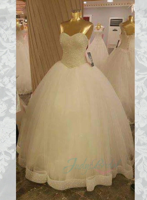 JOL279 sparkles beading bodice tulle ball gown wedding dress