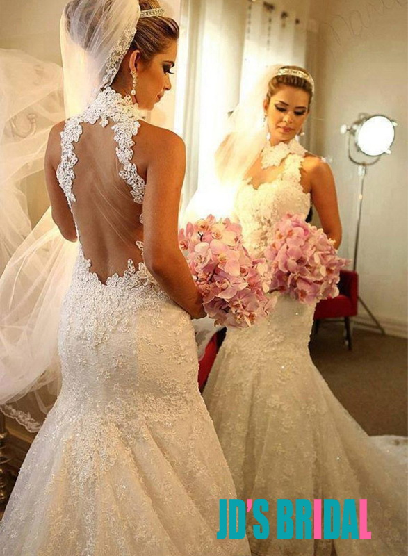 JOL321 Sexy sheer tulle back halter high neck lace mermaid wedding dress
