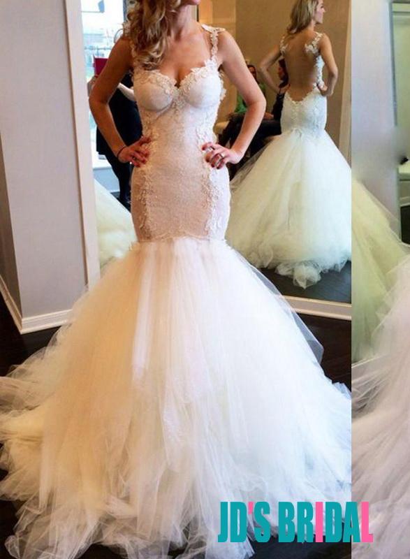 2016 See Through Tulle Back Mermaid Bottom Wedding Dress
