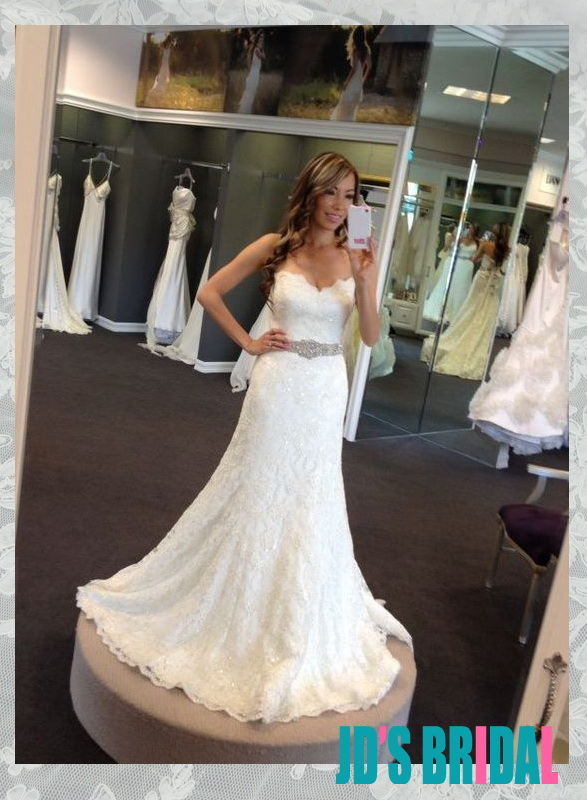 Jol334 Awesome Sparkles Beaded Sweetheart Neckline Lace Slim Aline Wedding Dress