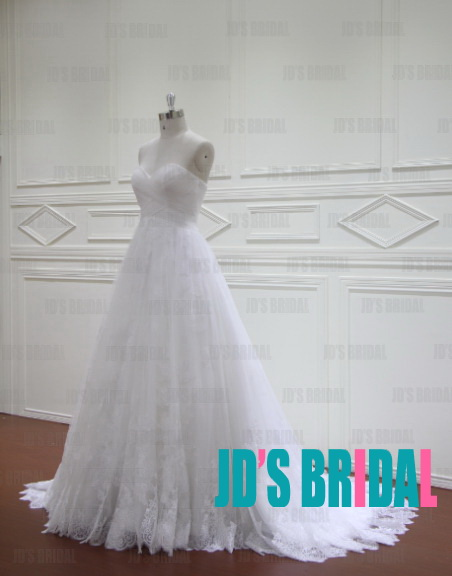 JW16176 Sweetheart neck tulle overlay lace white wedding dress