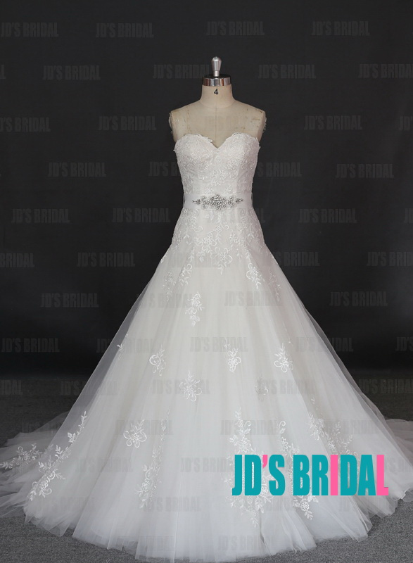 JW16177 sweetheart elongated waistline lace appliqued ball gown wedding dress