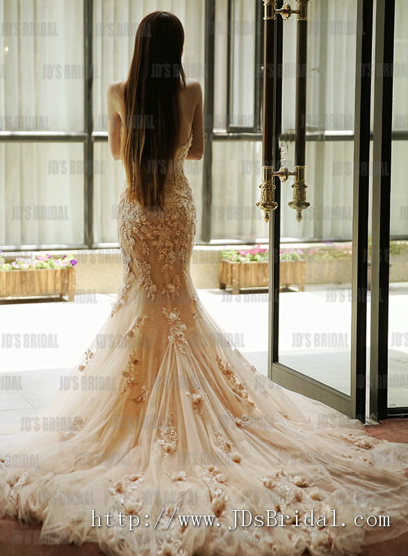 2016 2018 beautiful trends blush colored venice lace with handmade florals mermaid wedding dress