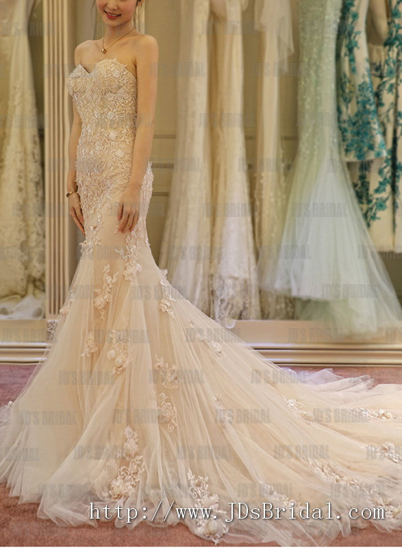 2016 beautiful trends blush colored venice lace with handmade florals mermaid wedding dress