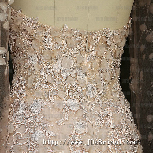 JW16178 Stunning blush colored 3d florals sweetheart neckline mermaid wedding dress