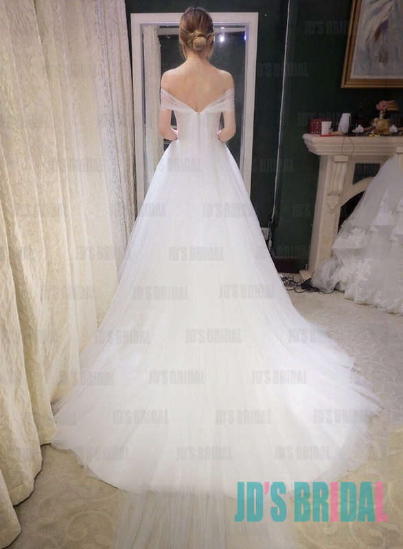 JW16179 soft airy off shoulder watteau train tulle white wedding dresses