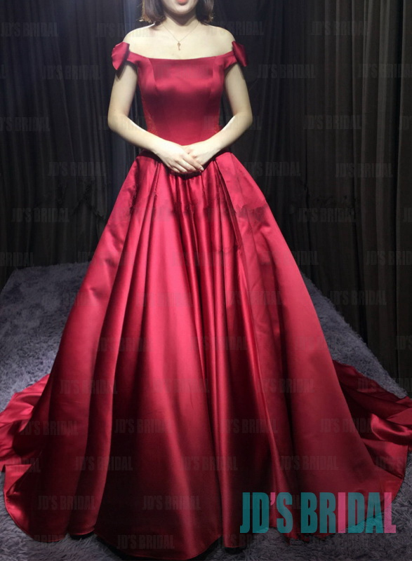 2016 Burgundy Red Color Off Shoulder Bow Detailed Long Train Satin Ball Gown Wedding Dress
