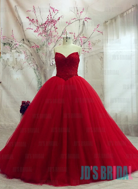 JW16182 sexy sweetheart neck bling sequined bodice red ball gown wedding prom dress