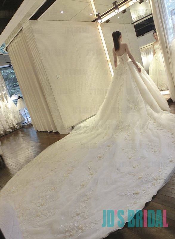 JW16183 stunning cathedral big long train florals spring wedding dress