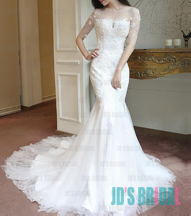 Jw16184 Romantic Illusion Tulle Top Short Sleeves Mermaid Wedding