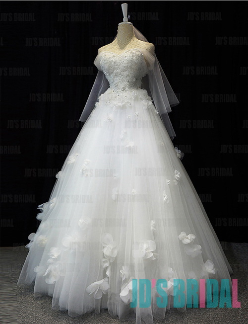 JW16185 Princess off shoulder fairytale tulle florals ball gown wedding dress