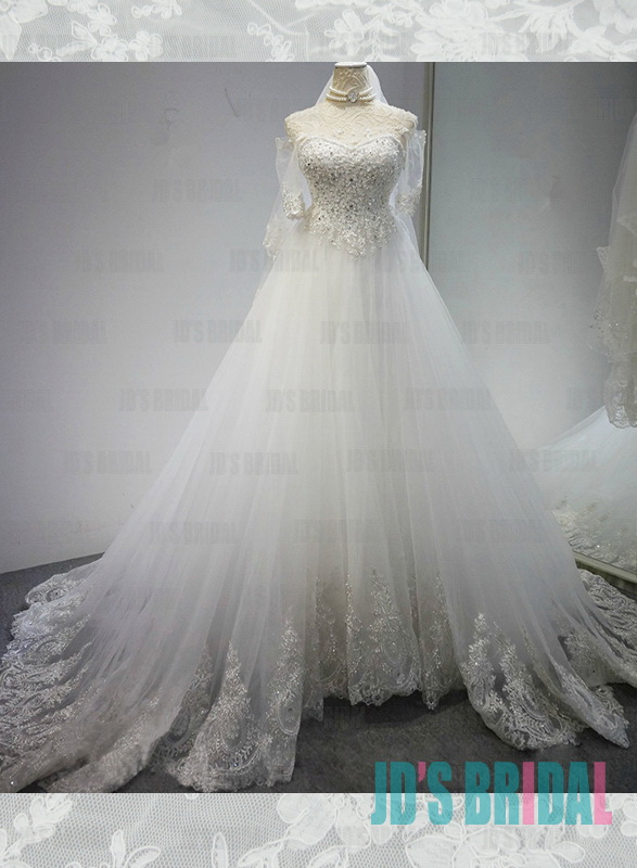 Jw16186 fairytale sweetheart neckline tulle ball gown for Fairytale ball gown wedding dresses