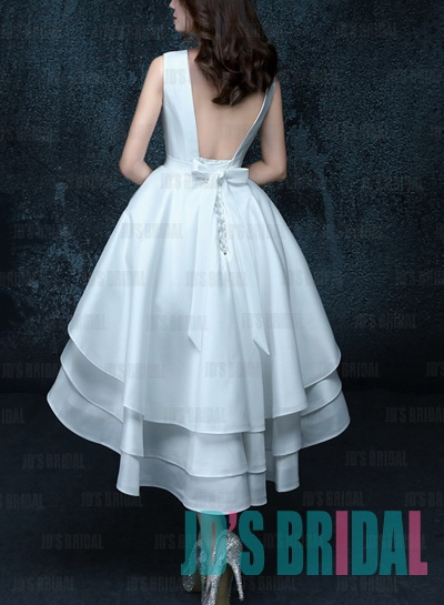 Lovely bateau neck open back short little white wedding dress with high low skirt