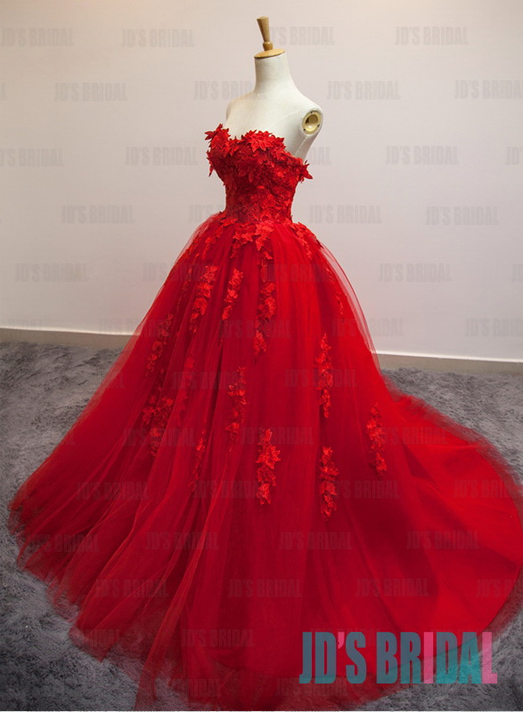 93f742e3a JW16188 perfect burgundy red lace ball gown tulle wedding dress