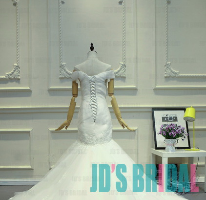 JW16189 new portrait neck lace mermaid wedding dress