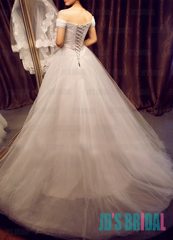 JW16190 burbundy gray off shoulder simple tulle ball gown wedding dress