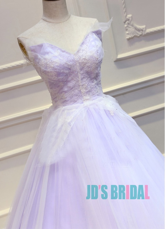 JW16191 Top colored lilac purple with white wedding prom dress