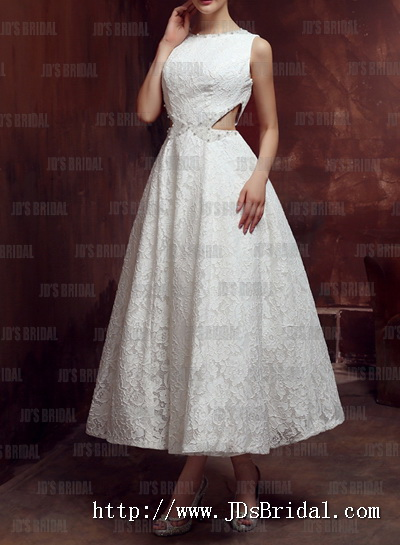 Sexy Cut Out Waist And Open Back Design Short Tea Length Lace Little White Wedding Dress