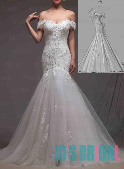 Jw16195 design off shoulder lace mermaid wedding dress for Mermaid off shoulder wedding dress