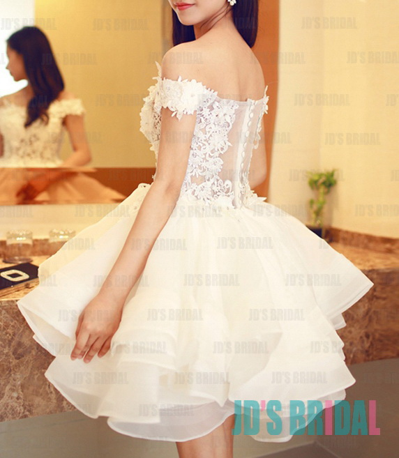 JW16196 sexy illusion lace sheer back short white wedding party dress